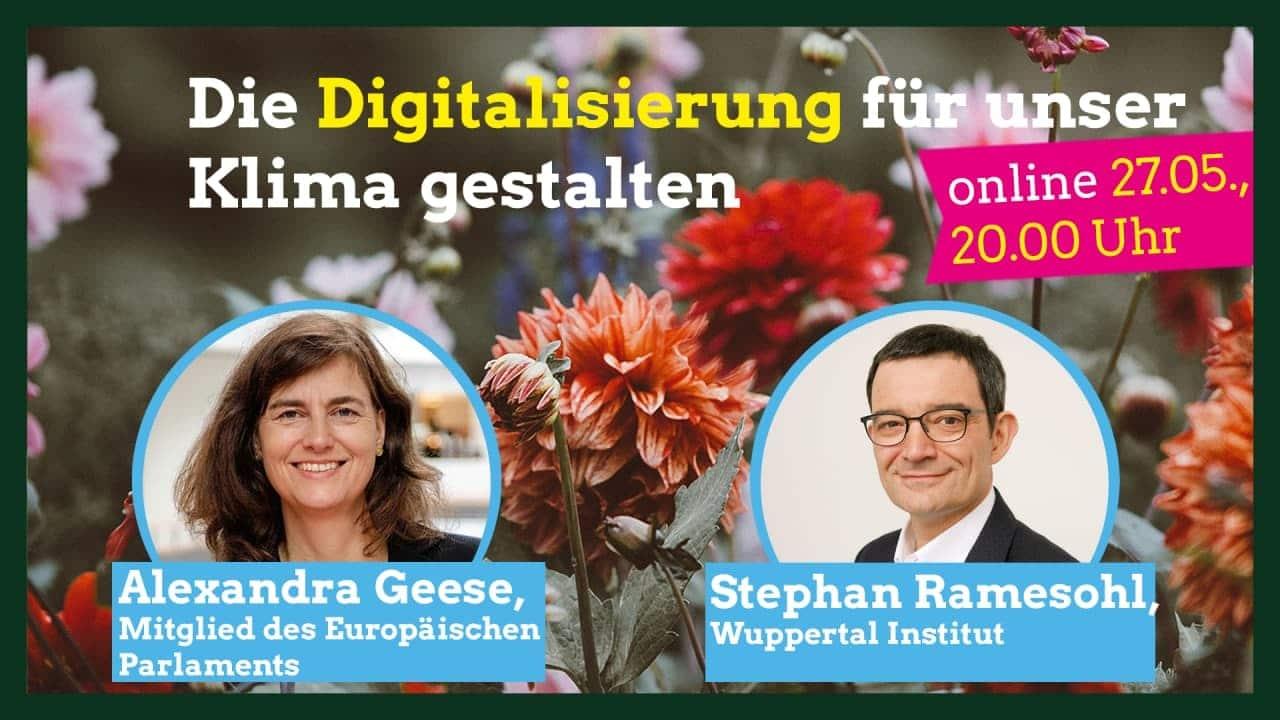 """Grafik zum Webinar """"Die Digitalisierung für unser Klima gestalten"""" am 27. Mai"""