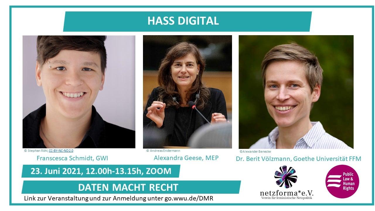 """Einladung Lunchtalk """"Hass Digital"""" mit Fotos der Speakerinnen"""