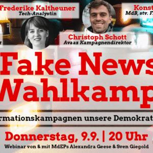"""Einladung zum Webinar """"Fake News Wahlkampf"""" mit Fotos vo den Gästen"""